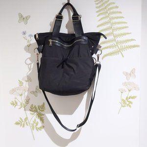 Black Nylon Tote Bag Zippered Pockets